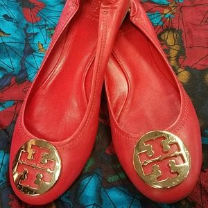 Tory Burch signature red leather flats size 10