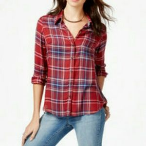 NWT Lucky Brand Plaid Top