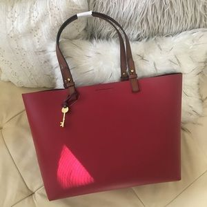 Fossil Rachel Red Burgundy Leather Tote Purse Bag