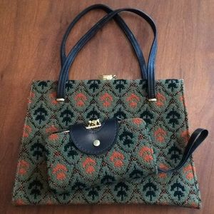Vintage Tapestry Purse & Matching Wallet Wristlet