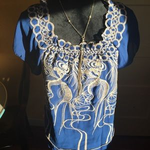 Anthro Blue Embroidered Top