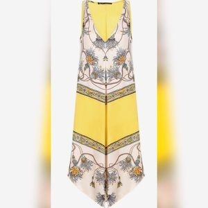 ZARA Yellow Maxi Floral Casual V-Neck Pocket Dress
