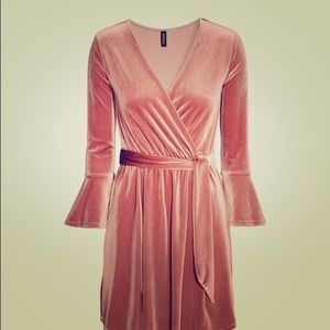 H&M rose gold tie waist dress