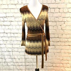Cache brown striped wrap sweater M