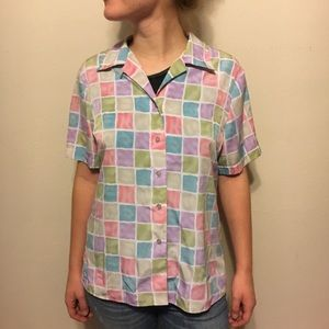 Vintage multi color short sleeve button up 80s 90s