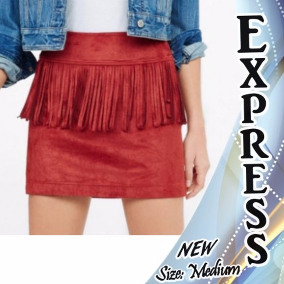 8c333da2272f Express Skirts | Skirt Faux Suede Fringe Burgundyred Med | Poshmark