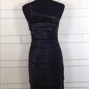 BCBG MAX AZRIA black one shoulder dress 6