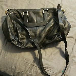Black real leather purse