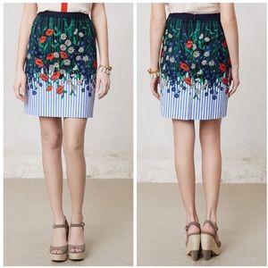 Anthropologie Vertical Garden Pencil skirt