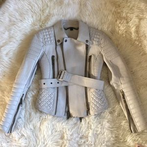 Burberry Prorsum Leather Peplum Quilted Jacket 38