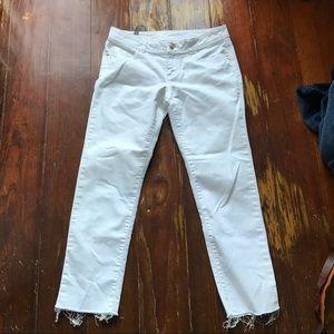 LC Laura Conrad White Raw Hem Ankle Jeans 4