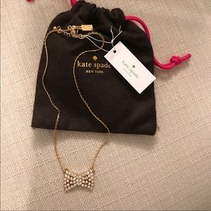 Kate Spade gold bow studded necklace