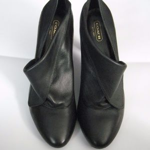 Coach Foldover Booties / Heels - Black Leather