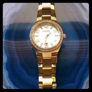 SALEFossil Two-Tone Bracelet Watch w Swarovski