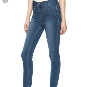 High-waisted front pocket jeans