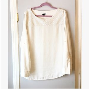 Ann Taylor long sleeved white silky blouse
