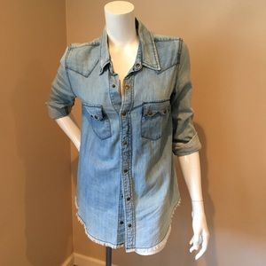 Free People XS denim snap up shirt