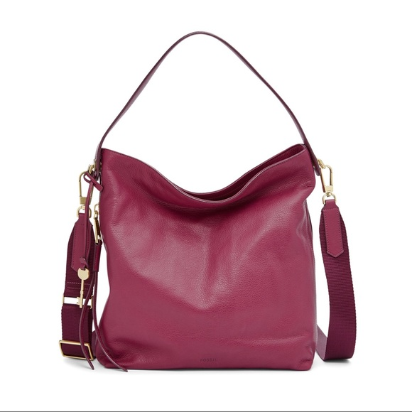 916cf3acca Fossil Handbags - Maya small hobo in raspberry wine NWOT