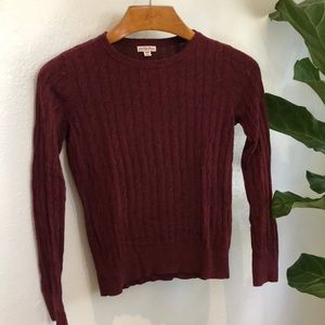 burgundy merona cable knit sweater