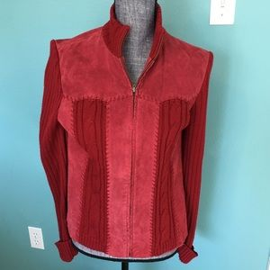 Coldwater Creek Leather Sweater Suede Red Medium