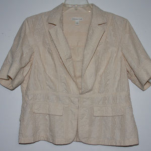 Coldwater Creek 18W Ivory Embroidered Jacket