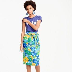 J. Crew Tie-waist skirt in puckered morning floral