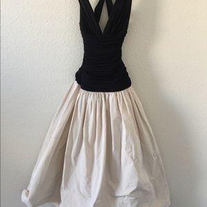 BCBGMAXAZRIA cream/Black ball gown dress