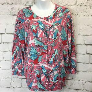 Talbots Bird Cardigan Sweater Button Front
