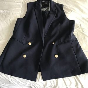 Long Navy Suiting vest