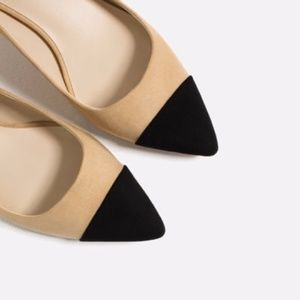 ZARA Mid-Heel With Contrasting Toe Cap-Shoes