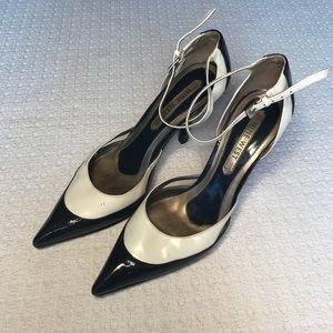 Nine West Navy/White Strappy Pumps
