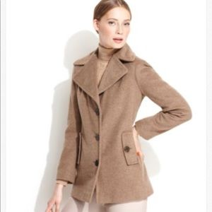 Calvin Klein Wool Coat Jacket 10 Pea Coat Brown