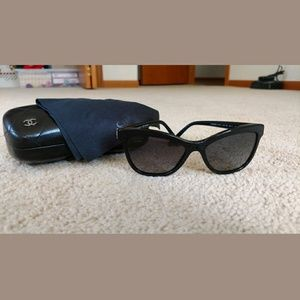NIB Chanel Black Cat Eye Quilted Frame Arms