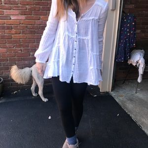 Free people white button down top!