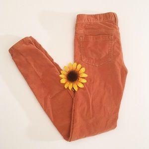 Burnt orange Free People corduroy skinny pants, 27