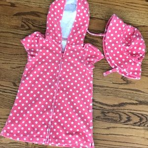 Girls Swim Terry Cloth Coverup and Matching Hat
