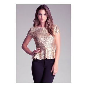 🚨NEW BEBE GOLD SEQUINS BLOUSE🚨