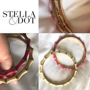 Stella & Dot bamboo set of bangles - pink & cream