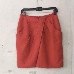 Fei Burnt Orange Cross Wrap Pencil Skirt Pockets