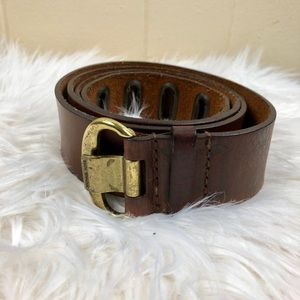 Michael Kors Brown and Brass Leather Belt Size XL