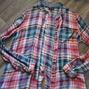 Plaid Lucky Brand Flannel Button-Up Shirt