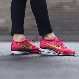 aeb751ac60d5 Nike Shoes - Nike Flyknit Racer Volt Pink  Fireberry