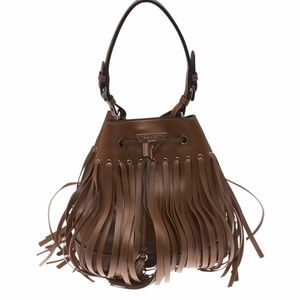 Prada Brown Leather Shoulder Bag  (117432)