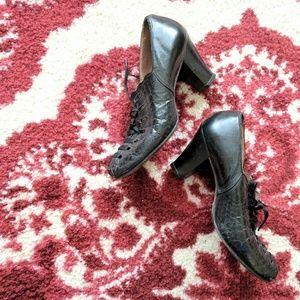 1940's Black Leather Nurse heels