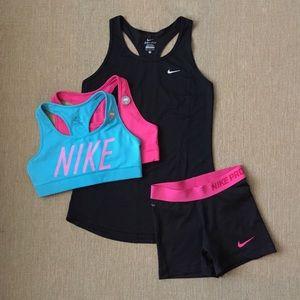 Nike Bundle - 2 Sports Bras, Tank, Spandex  Shorts