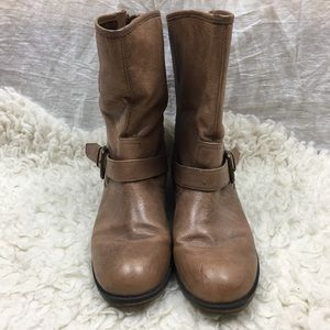 Steve Madden Temmpt Brown leather motor boots 8