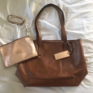 Leather Fossil Tote with Zip Wallet