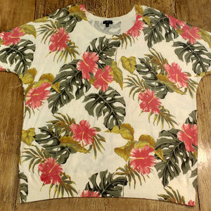 Talbots Plus Size Sweater Top Tropical Floral