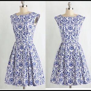 NWT Closet London Blue & White Dress