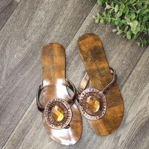 Brown and Bronze Jewel Flip Flop Sandals